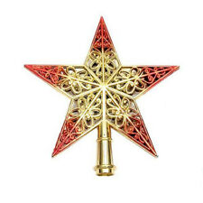 20CM Gold+Red Star Christmas Tree Top Topper For Home House New Year Christmas X