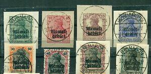 Memel-auf-Germania-Nr-1-8-gestempelt-auf-Briefstuecken