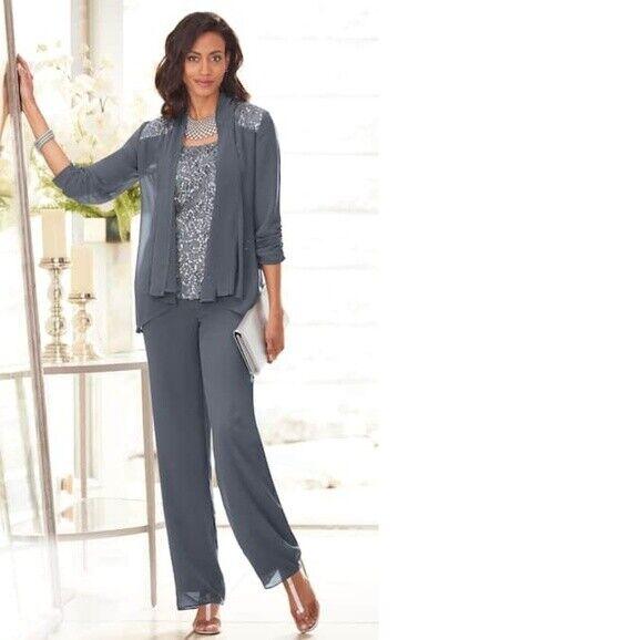 Midnight Velvet Gray Sequin Formal Pant Suit 6 10 12 16 16W 18W 20W 22W 24W