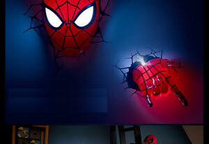 3d deco led night light spider man mask 3d hand wall mounted 3d deco led night light spider man mask mozeypictures Gallery