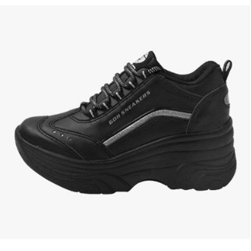 Femmes Talon Haut Baskets pom-pom girls chaussures Compensées Plateformes cheer leader noir