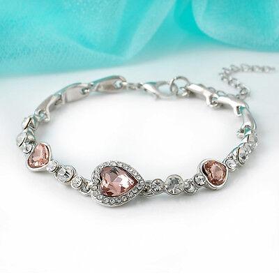 Fashion Women Lady Royal Ocean Heart Crystal Rhinestone Bangle Bracelet Gift Hot