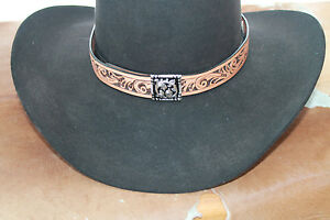 Western-Leather-Tooled-Hatband-Rodeo-Cowboy-Fashion-Concho-Horse-Show-Jean-Slvr
