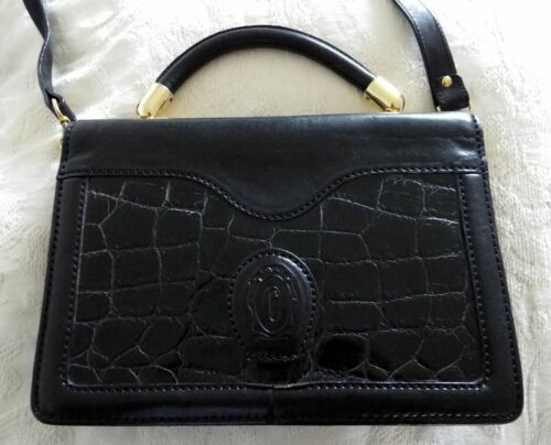 Ceancarel vintage black thick leather shoulder or hand bag