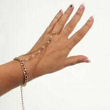 Sklavenarmband Handschmuck Armband Hochzeit Strass slave bracelet Farbe gold