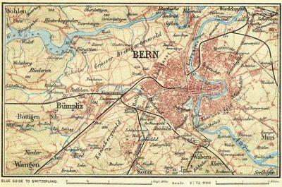Active Switzerland. Environs Of Berne 1923 Old Vintage Map Plan Chart Wide Varieties