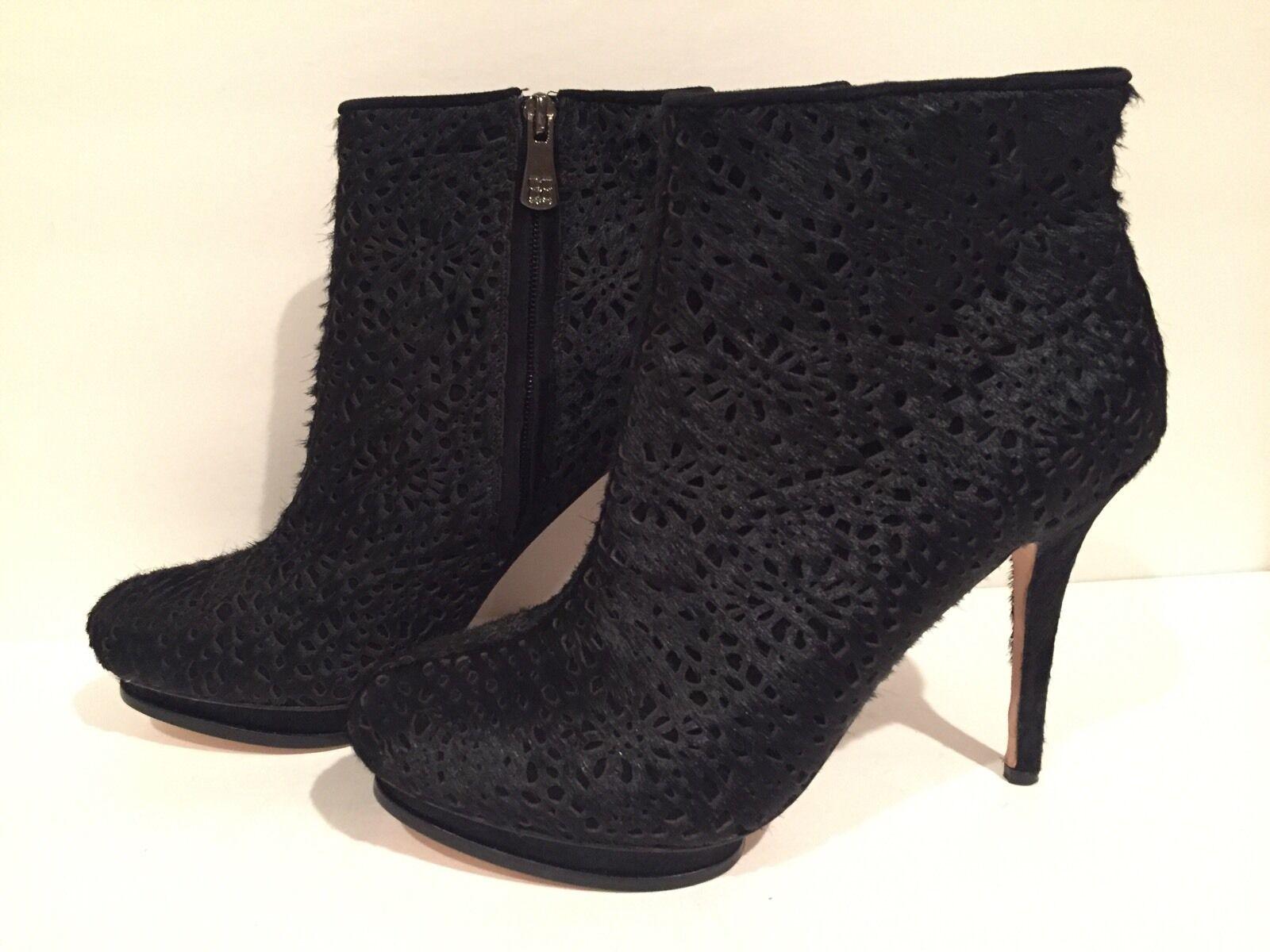 BCBG Max Azria Ven Ankle Boots Heel Zip Pony Hair Black 9.5 B  290 & Up New