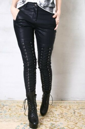 Women Punk Rock Motorcylce Biker Pants Leather Gothic Band Pleather Pants Metal