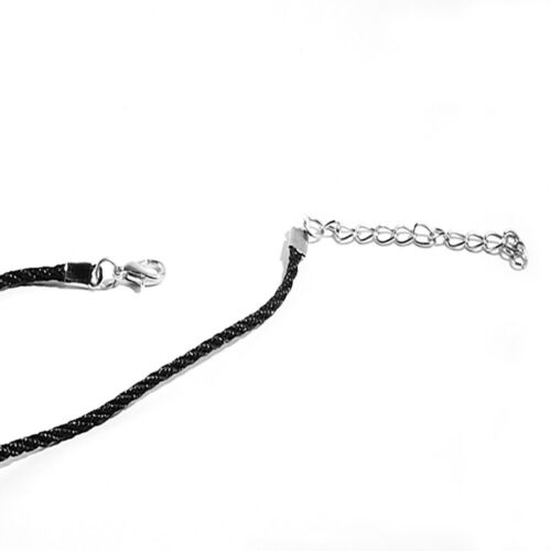 Angel Wing Cross Stainless Steel Pendant Black Cord Necklace B
