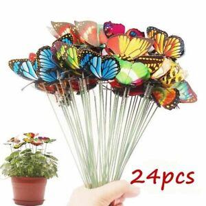50x Butterfly Outdoor Garden Yard Planter Butterflies Stakes Flower Pot Decor