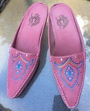 Women's CHARLIE 1 HORSE Western Hand painted Leather Slides Pink