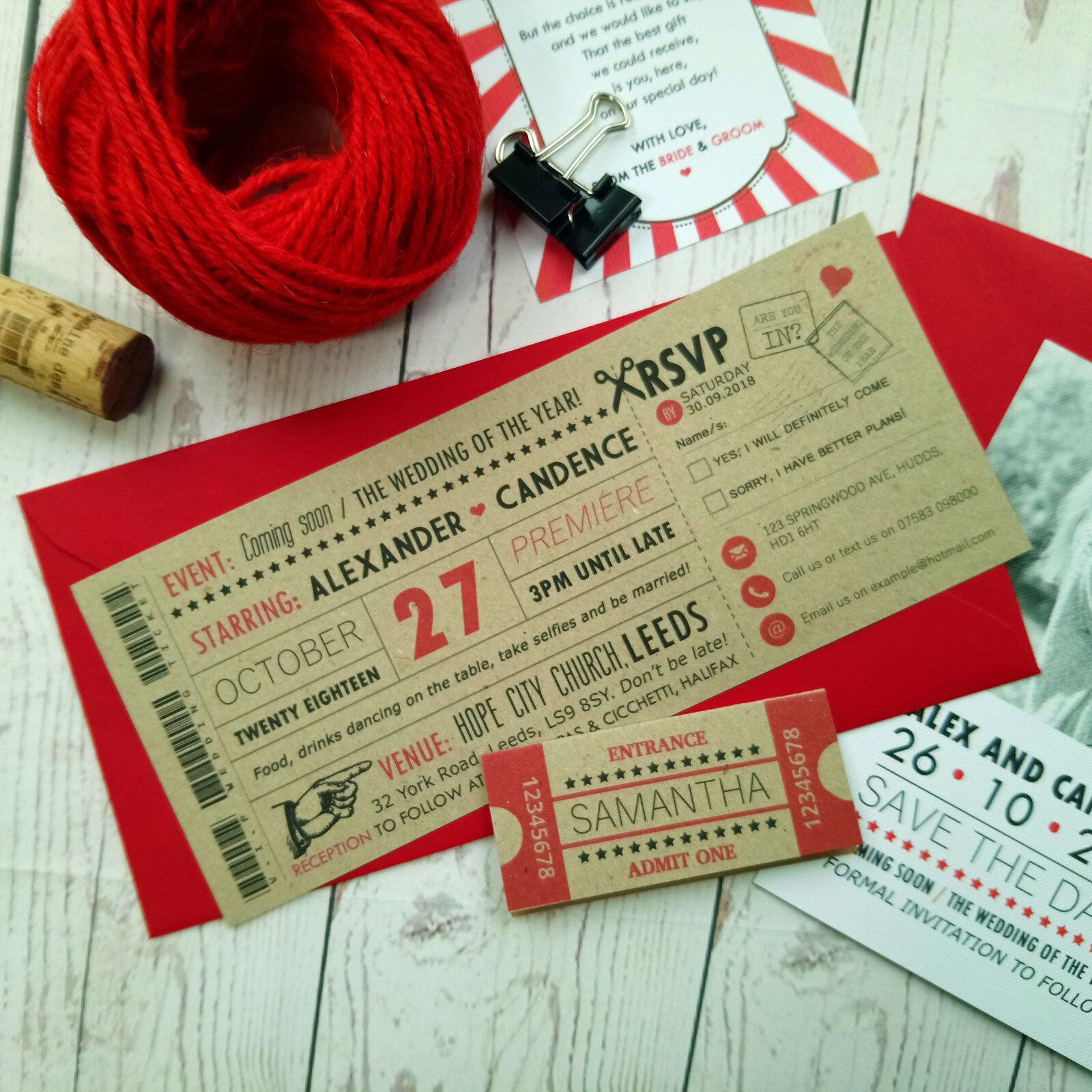 Film Craft Ticket mariage invitation rétro vintage vintage rétro cinéma Style Mariage inviter e4f533