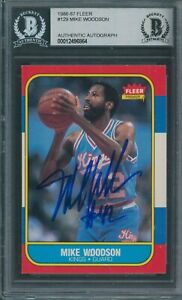 1986/87 Fleer #129 Mike Woodson Beckett Authentic Autograph Signed *6864