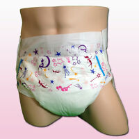 Pack Of 2 Size Medium Vintage Abu Adult Diapers W/ Sissy Baby Print