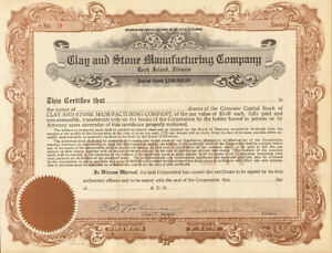 Clay and Stone Manufacturing Company > Rock Island Illinois stock certificate