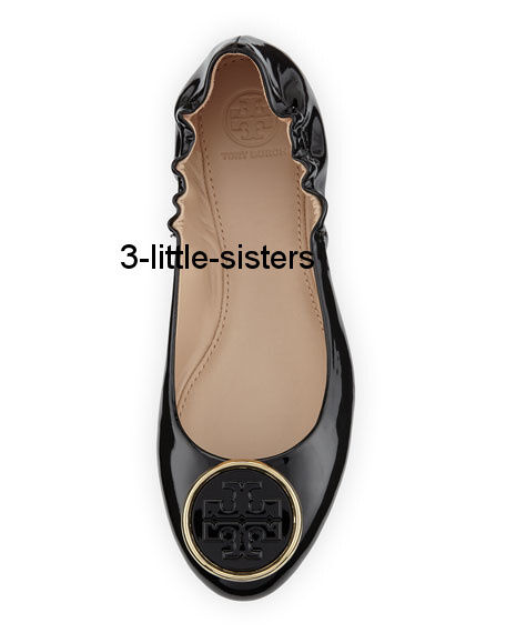 NEW Tory Burch Black Patent Leather Twiggie Ballet Ballerina Flats 10.5 NIB