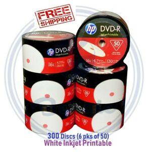 300-HP-DVD-R-DVD-16X-White-Inkjet-Printable-Blank-Media-Print-4-7GB-120Min