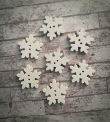 12 Snowflake Wooden Buttons 18mm White Christmas Decoration Crafts Scrapbooking