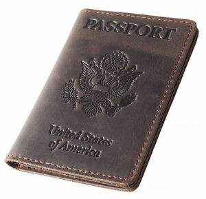 590e55cac7f8 Rachiba Leather Passport Holder Travel Wallet Cover Case for Men N Women