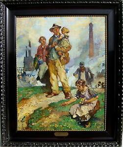 Gustav-Olms-1864-Duesseldorf-Industrie-Gemaelde-mit-Stahlarbeitern-1926