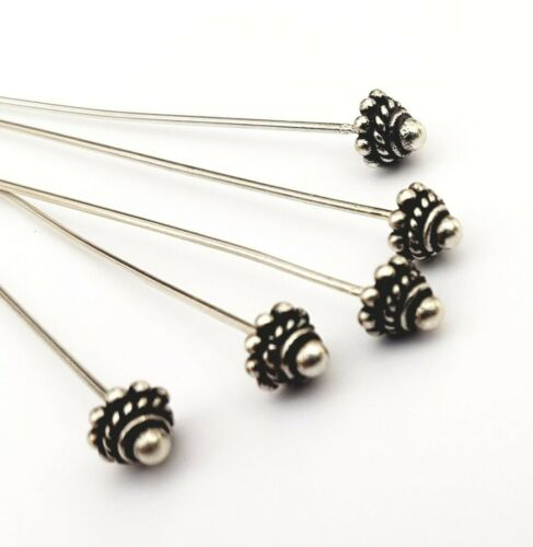 Decorated Headpins~Sterling Silver Bali Findings Beads~jewellery making