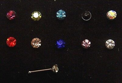 3mm Crystal Gem Nose Bone Stud Straight Stem 316L Bar Screw Ring Jewellery 20g