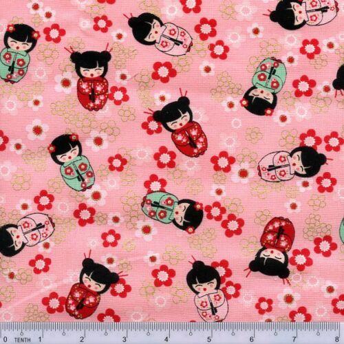Fat Quarter Cherry Blossom Festival Pink Chinese Doll Quilting Fabric  Benartex