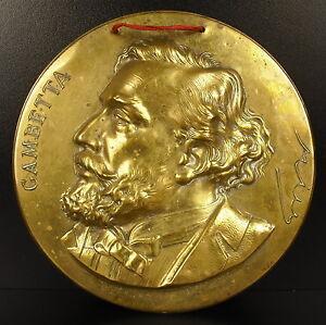 Dynamique Médaillon 16,5 Cm C1900 à L'homme Politique Léon Gambetta Republicain Medal