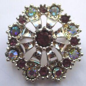 Broche Bijou Vintage Couleur Argent Cristaux Diamant Violets Et Boréalis 2000