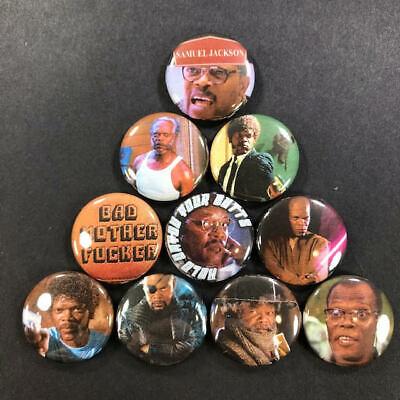 """Samuel L Jackson 1/"""" Button Pin Set Pulp Fiction Jurassic Park Actor"""