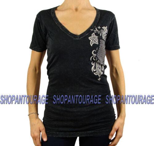 AFFLICTION Jasmine AW10981 negro nuevo para mujer con cuello en V Camiseta