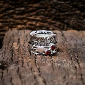 Garnet Spinner Ring Solid 925 Sterling Silver Ring Red Garnet Ring Spinner Meditation Ring Meditation Band Handmade Ring Best Gift for All