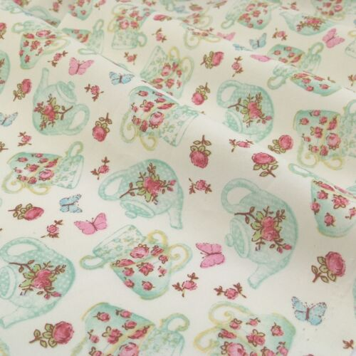 44 inches wide Vintage tea shop ivory cotton poplin fabric by the half metre