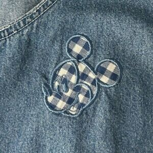 Mickey Mouse Denim Dress Walt Disney World Blue Gingham Sleeveless Large