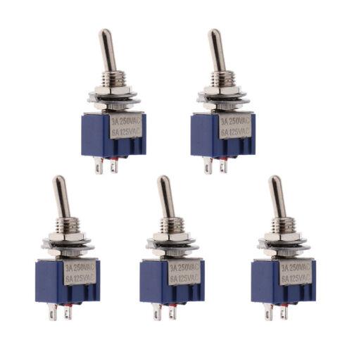 5 x On-Off-Mini-Kippschalter runden Griff 2P blau