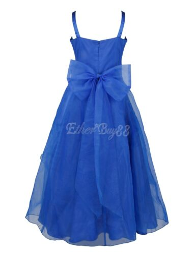 USA Pageant Flower Girls Birthday Party Princess Wedding Bridesmaid Formal Dress