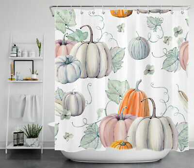 Autumn Pumpkin Harvest Shower Curtains for Bathroom Fall Thanksgiving Shower Curtain Fallen Leaves Polyester Fabric Waterproof Shower Curtain with Hooks 69x70inch