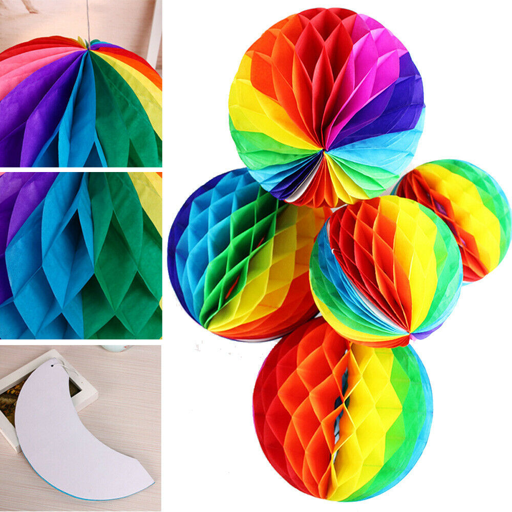9 Pieces Colorful Happy Birthday Decorations Rainbow Honeycomb Balls Centerpieces Table Topper Birthday Pom Poms for Kids Birthday Party Baby Shower