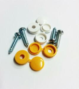 Pack Of 4 White Quality Car Van Number Licence Plate Fitting Oversized Screws