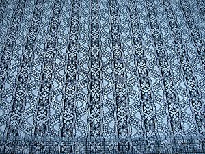 3 Yards Quilt Cotton Fabric - Timeless Treasures Noir Lace Stripe Black Natural