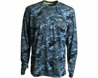 Aftco Caster Performance Fishing Sun Shirt - Blue Camo - Pick Size-free Ship