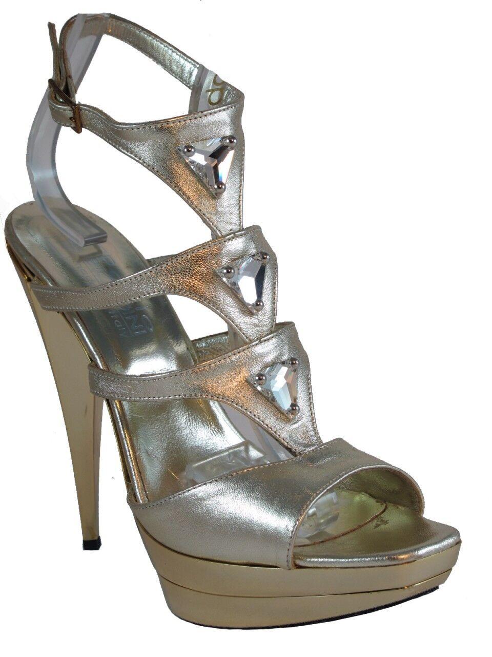Women's Biondini 5.5 5.5 5.5  High Heel Dressy Leather Sandal gold 7453 92eff5