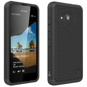 finest selection a9789 e560f Details about For Microsoft Lumia 550 Case - Black Rugged Skin Phone Cover