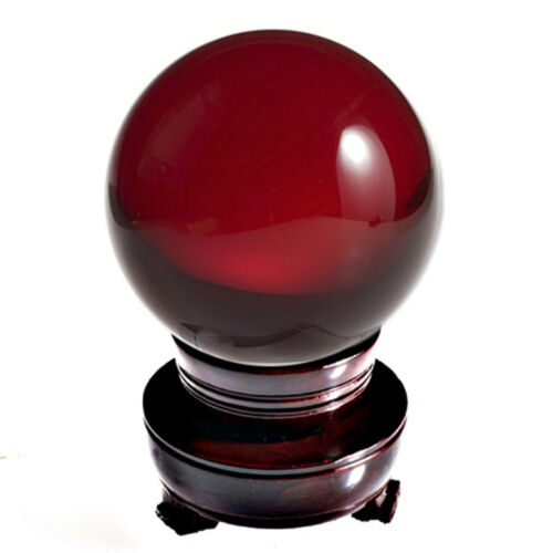 Red Ruby Crystal Ball Sphere 60mm 2.3-inch with Wood Stand in Gift Box