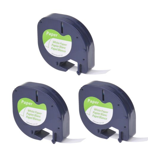 """3PK Black on White Tape Label for DYMO Letra Tag Lablemaker LT 91330 12mm 1//2/"""""""
