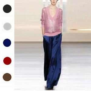 05e94f2002 Womens 100% Mulberry Silk Palazzo Pants Wide Leg Trousers Loose ...