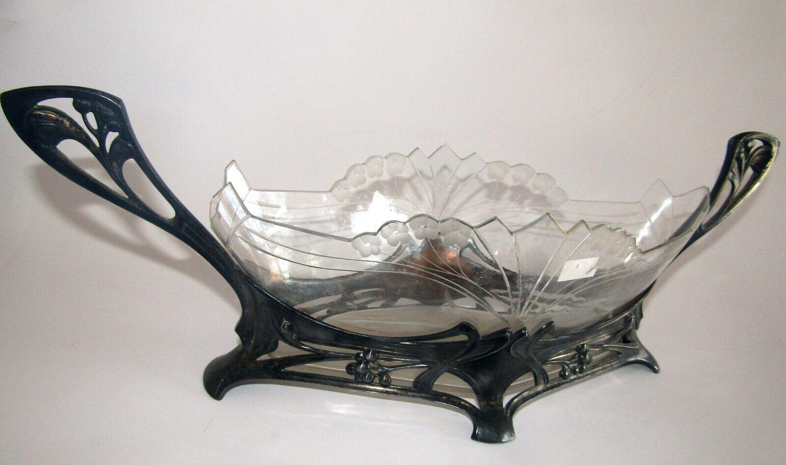 WMF ancienne superbe Jardinière avec verre art nouveau antique planter wmf