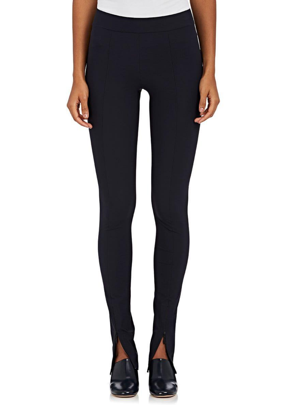 New  490 The Row Nelma Zip Cuff Stretch Jersey Leggings Pants in Dark Navy sz L