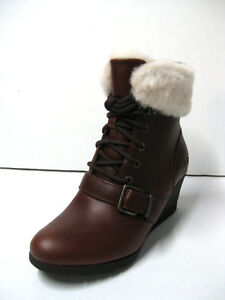 19ad986949f Details about UGG JANNEY WOMEN WEDGE BOOTS LEATHER STOUT US 6.5 /UK 5 /EU  37.5 /JP 23