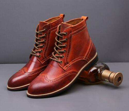 Men/'s Brogue Leather Lace-up Dress Formal Business Oxford Ankle Boots